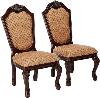 Acme Furniture 64077 Chateau De Ville Series Traditional Fabric Wood Frame Dining Room Chair