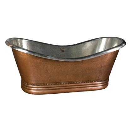 "66"" Copper Double Slipper Tub w/ Nickel Interior"