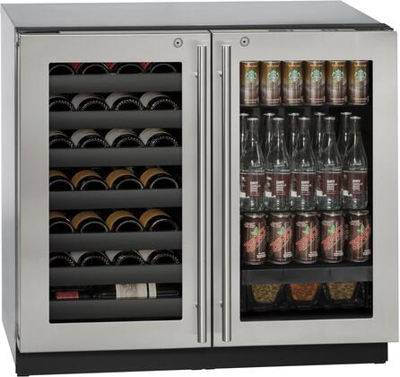 "U-Line U3036BVWCx 36"" Modular 3000 Series Beverage Center with U-Select Control, Dual Temperature Zones, 7 Wine Racks, 31 Wine Bottle Capacity, and Triple Thermopane Glass Door, in"