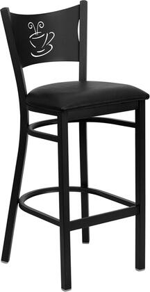 "Flash Furniture HERCULES Series XU-DG-60114-COF-BAR-XXV-GG 30.5"" Heavy Duty Coffee Back Metal Restaurant Bar Stool with Vinyl Seat, Commercial Design, Foot Rest Rung, and Plastic Floor Glides"