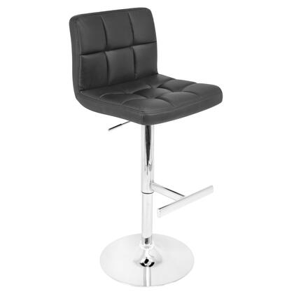 "LumiSource Lager BS-TW-LAGER 37"" - 45"" Barstool with 360-Degree Swivel, Tufted Cushions and Chrome Base in"
