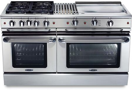 """Capital GSCR604BGN 60"""" Gas Freestanding Range with Sealed Burner Cooktop, 4.6 cu. ft. Primary Oven Capacity, in Stainless Steel"""