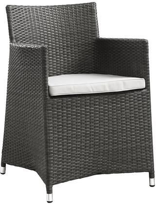 "Modway Junction EEI1505WHI 23"" Dining Outdoor Patio Armchair with All-Weather Fabric Cushion, Synthetic Rattan Weave Material, Aluminum Frame, UV and Water Resistant in"