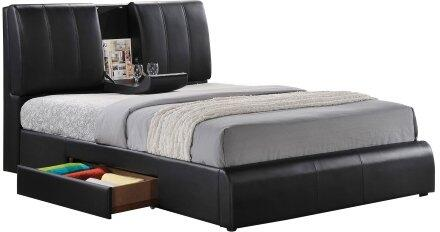 Acme Furniture Kofi Collection Bed with Drop Down Tray, Reversible Side Storage Drawer, Low Profile Footboard, Tropical Wood, Rubberwood Materials and Soft PU Leather Upholstery in Black Color