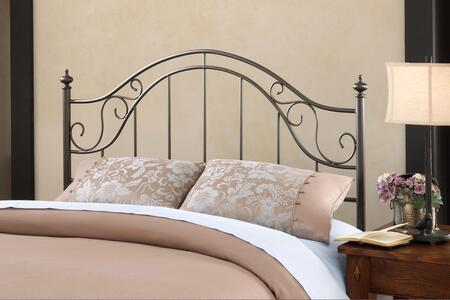 Hillsdale Furniture Clayton 1681H Open-Frame Headboard with Scrollwork, Tubular Steel and Cast Metal Construction in Matte Brown Color