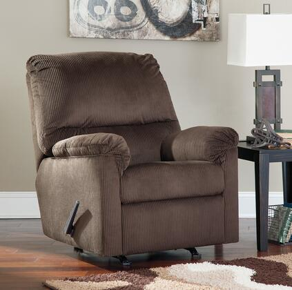 Benchcraft Aluria 1820X25 Rocker Recliner with Stylish Padded Arms, Textured Fabric Upholstery and Thick Divided Back Cushion in