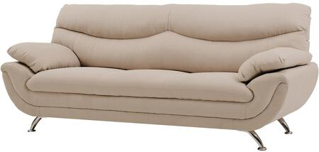"Glory Furniture 88"" Sofa with Chrome Legs, Padded Arms, Medium Firm Seating, Split Back Cushion and Fabric Upholstery in"