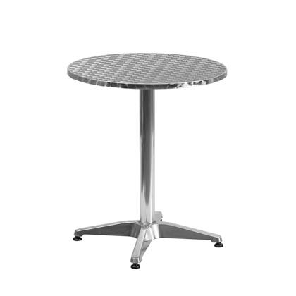 Flash Furniture TLH-052-X-GG Round Aluminum Indoor-Outdoor Table with Smooth Stainless Steel Table Top and Aluminum Column and Base
