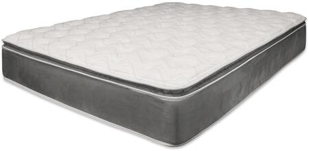 """Acme Furniture Jade Collection 14"""" Pillow Top Mattress with Foam Encased, Internal Noise Reduction, Metal Coil and Made in USA in Grey Color"""