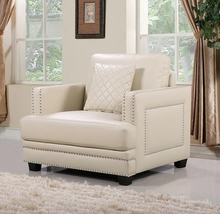 "Meridian Ferrara 655-C 40"" Chair with Top Quality Bonded Leather Upholstery, Silver Nail Heads Design and Quilted Pillows in"