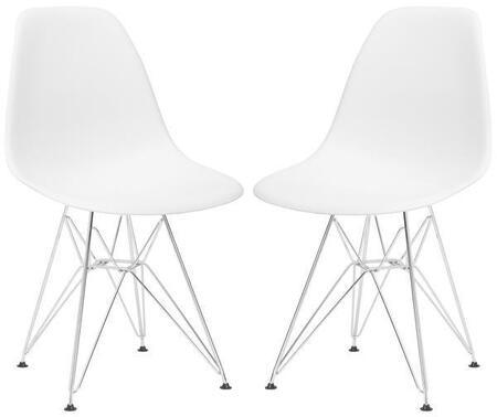 EdgeMod EM104CRMWHIX2 Padget Series Modern Metal Frame Dining Room Chair