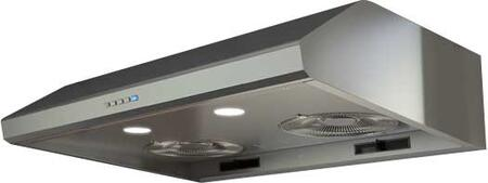 "Zephyr AK2500Bx 30"" Essentials Power Series Hurricane Under Cabinet Hood with 695 CFM, 5.5 Sones, Electronic Touch Controls, 3 Speed Levels and Halogen Lighting, in"