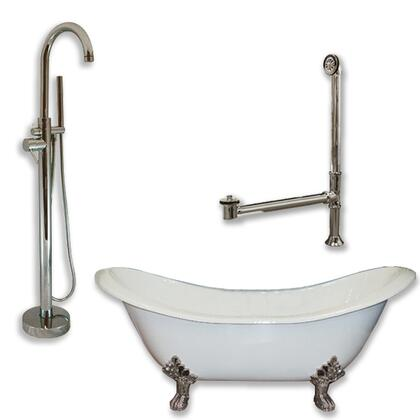 "Cambridge DES150PKG Cast Iron Double Ended Slipper Tub 71"" x 30"" with no Faucet Drillings and Complete Oil Rubbed Bronze Modern Freestanding Tub Filler with Hand Held Shower Assembly Plumbing Package"