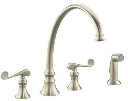 Kohler K-16111-4- Double Handle Kitchen Faucet with Metal Scroll Lever Handles and Sidespray from the Revival Series: