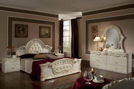 VIG Furniture VGACROCOCO-SET Modrest Rococo 5 PC Italian Classic Bedroom Set with 2 Nightstands, Dresser, Mirror, Button Tufting Detail and Leatherette Upholstery in Beige