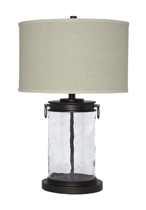 """Signature Design by Ashley Tailynn L4303X 26"""" Glass Table Lamp with Drum Shade, 3-Way Switch and Casual Style in"""