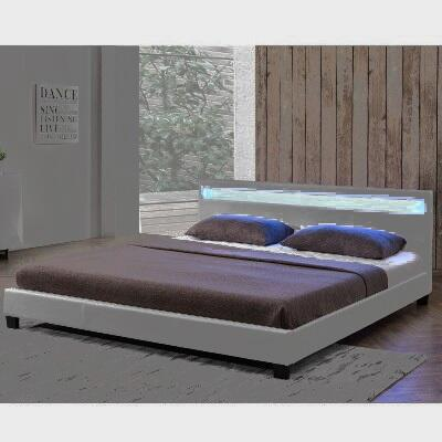 """Ladeso Bronx Collection SF-823-X-LG 94"""" Bed with LED Lights in Headboard, Low Profile and Leatherette Upholstery in Light Grey"""