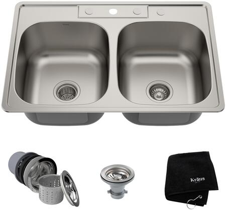 "Kraus KTM3 Premier Series 33"" Topmount Double-Bowl Kitchen Sink with Stainless 18-Gauge Steel Construction, Sound Insulation, and Commercial-Grade Satin Finish"