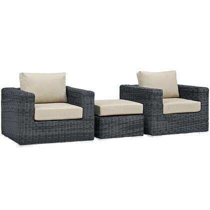 Modway Summon Collection EEI-1905- 3-Piece Outdoor Patio Sunbrella Sectional Set with 2 Armchairs and Ottoman in