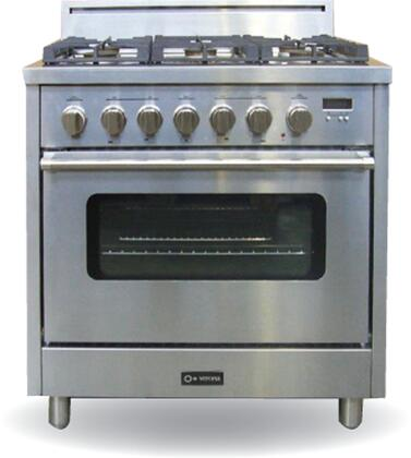 Verona VEFSGEL65SSNG  Natural Gas Freestanding Range with Sealed Burner Cooktop, 3.6 cu. ft. Primary Oven Capacity, in Stainless Steel