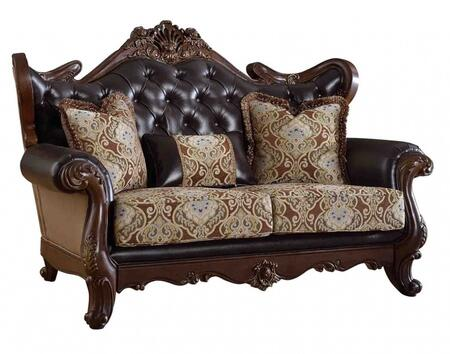 Meridian 601L Modena Series Fabric Stationary with Wood Frame Loveseat