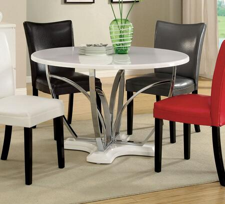 Furniture of America Belliz Collection CM3177XX-T Round Dining Table with High Gloss Lacquer Coating and Chrome Legs and Pedestal Base in