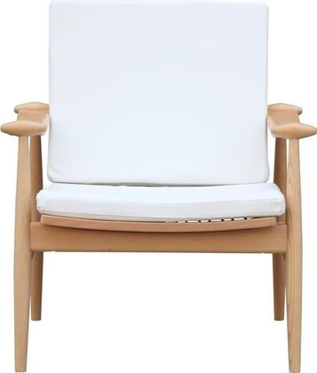 Fine Mod Imports FMI10109WHITE Vogel Series Leather Lounge with Wood Frame in White