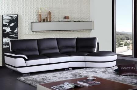 VIG Furniture VGKNK Divani Casa Rapture Sectional Sofa with High Density Foam Cushioning, Solid Wood Legs, Eco-Leather Upholstery and Twon Tone in