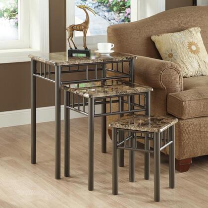Monarch I 30X1 3 Piece Nesting Table Set, with Laminate Marble Look Top, and Metal Legs