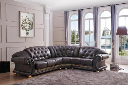 ESF Versachi Collection I1765X Sectional with Leather in Brown