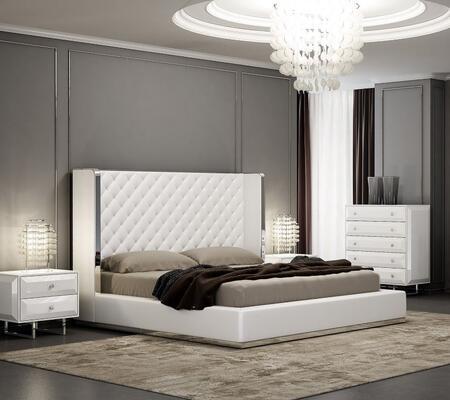 Whiteline Abrazo 4 Piece California King Size Bedroom Set