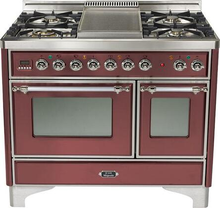 Ilve UMTD1006MPRB Majestic Techno Series Dual Fuel Freestanding Range with Sealed Burner Cooktop, 2.44 cu. ft. Primary Oven Capacity, Warming in Burgundy Red
