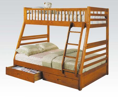 Acme Furniture Jason Collection Twin/Full Size Bunk Bed with 2 Storage Drawers, Built-In Guard Rails, Ladder and Pine Wood Construction in