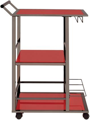 """Coaster Kitchen Carts Collection 25"""" Serving Cart with Wine Bottle Storage, Stemware Rack, Handle, Casters, Shelves and Construction in"""