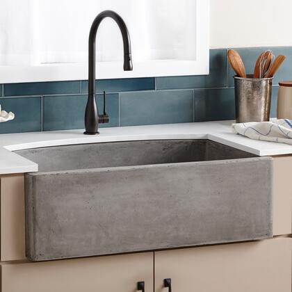 """Native Trails NativeStone Kitchen Sinks Collection 33"""" Farmhouse Quartet Kitchen Sink with 3.5"""" Drain, Single Curved-Front Bowl, Lightweight Concrete Material, Scratch and Stain Resistant in"""
