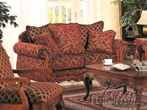 Acme Furniture 05616 Georgian Series Fabric Loveseat with Wood Frame Loveseat