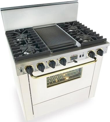 """FiveStar WPN3377SW 36"""" Dual Fuel Freestanding Range with Sealed Burner Cooktop, 3.69 cu. ft. Primary Oven Capacity, in White with Brass"""