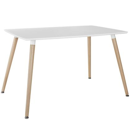 Modway EEI-1056 Field Dining Table with Modern Design, Solid Beech Wood Legs, Fiberboard Top, and Rectangular Shape