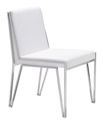 """Zuo 10033A Kylo 33"""" Dining Chair with Stainless Steel Frame, and Plush Seat and Back"""
