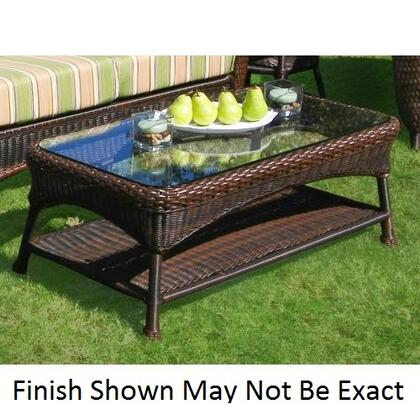 """Tortuga LEX-LT Sea Pines Coffee Table With Powder Coated Aluminum Frames, Outdoor All Weather Wicker, Heavy 1/4"""" Clear Tempered Glass Table Top & In"""