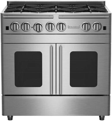 """BlueStar RNB366BPMV 36"""" Precious Metals Series Gas Range with 6 Burners, and Unique French Door Extra Large Convection Oven (Select Color Option)"""
