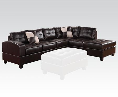 Acme Furniture 511SS Kiva Reversible Sectional with Left Facing Sofa, Chaise, Pillows, Pocket Coil Seating, Bonded Leather Match Upholstery, Tufted Back and Seat Cushion in