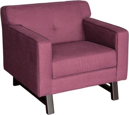 Armen Living LC10041X Roger Chair Claret Purple Fabric with Button-tufting Detail and T-Cushion Back in