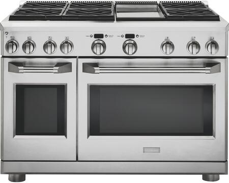 "GE Monogram ZGP486XDRSS 48"" Star K, Professional Range with 6 Sealed Dual-Flame Burners and Griddle, 8.9 cu. ft. Oven Capacity and Heavy-Duty Oven Racks, in Stainless Steel:"