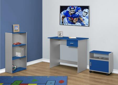 """Monarch I 710X 36"""" 3 Piece Computer Set with Adjustable Shelves, Storage Cabinet and Modern Design in White"""