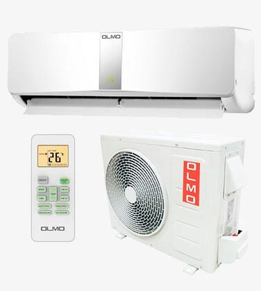 """Olmo OSXHP230V1D 27"""" SCANDIC Series DC Inverter-Driven Ductless Split System with ,000 BTU Cooling/Heating Capacity, Invertor Technology, Pre-Heating, Sleep Mode, 15 SEER, and LED Display: White"""