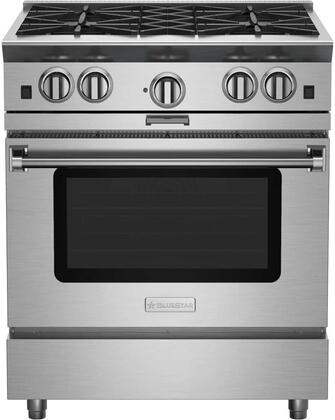 "BlueStar BSP304B 30"" Platinum Series Freestanding Range with 4 Open Burners, Interchangeable 2-in-1 Griddle Charboiler, Innovative PowR Oven, and Powerful 25,000 BTU Burner, in Stainless Steel"