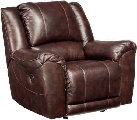 "Signature Design by Ashley Yancy 29200REC 34"" Leather Match Rocker Recliner with Padded Arms, Split Back Design and Jumbo Stitching Details in Walnut"